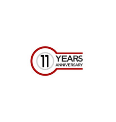 11 years anniversary with circle outline red vector