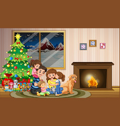 a family celebrating christmas vector image