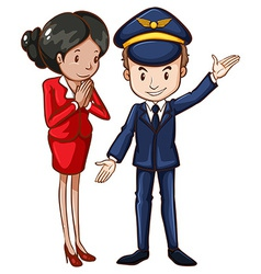A simple drawing of an air hostess and a pilot vector