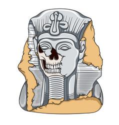 ancient pharaoh statue of a skull vector image
