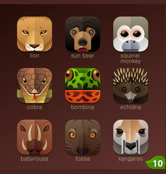 animal faces for app icons-set 10 vector image