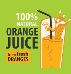 banner or label for natural orange juice vector image