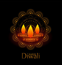 Beautiful black happy diwali background with vector