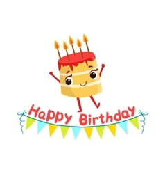 Birthday Cake And Paper Garland Kids Birthday vector image