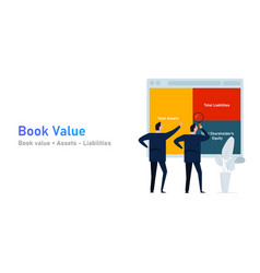 Book value assets and liabilities a company vector