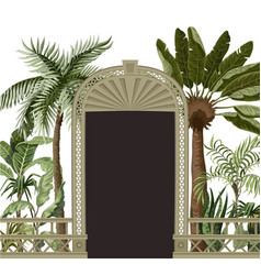 border with tropical trees and door openings in a vector image