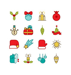 bright winter holidays icons set vector image