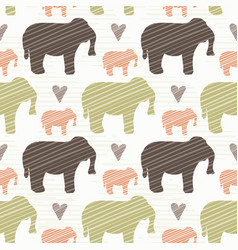 brown pink and green elephant silhouette seamless vector image