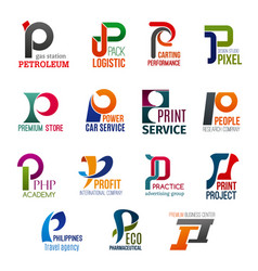 business icons letter p corporate identity vector image
