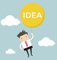 Businessman hanging idea balloon vector