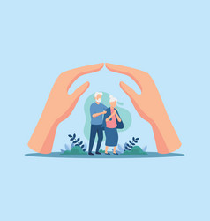 Care and support for elderly people vector