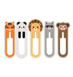 cartoon kawaii bookmarks with animals vector image