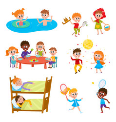 Cartoon set of kids on vacation in summer camp vector