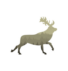 cartoon silhouette deer and forest vector image