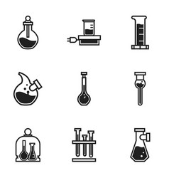 Chemistry flask icon set simple style vector