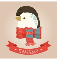 Christmas cute forest penguin head logo vector image