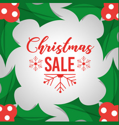 christmas sale poster template with leaves vector image