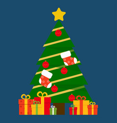 christmas tree and presents image vector image
