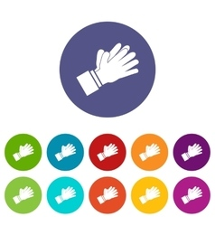 Clapping applauding hands set icons vector image