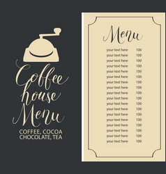 Coffee house menu with price list and coffee mill vector