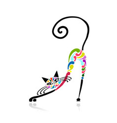 colorful cat design vector image