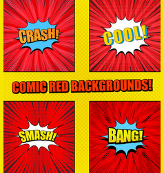 comic pages red set vector image