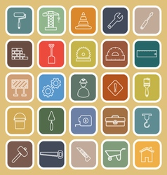 Construction line flat icons on brown background vector
