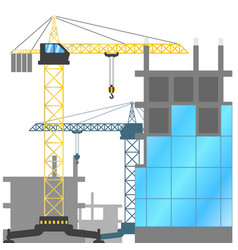 construction site with tower cranes and buildings vector image