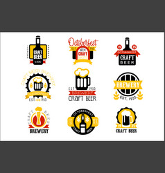 craft beer set of logo design templates vector image
