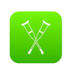 crutches icon digital green vector image