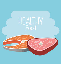 delicious salmon and beef meat healthy food vector image