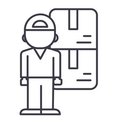 delivery man line icon sign vector image