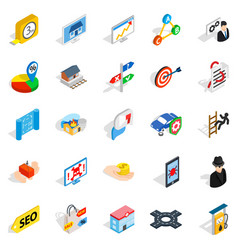 development interface icons set isometric style vector image