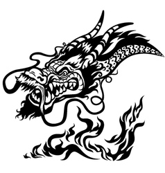 dragon head black and white vector image