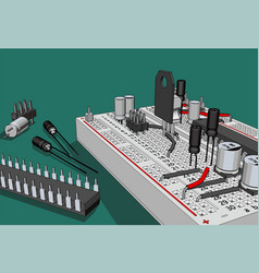 Electronics components kit for education vector