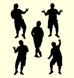 fat man gesture silhouette 02 vector image