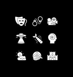 Filmmaking white glyph icons set for dark mode vector