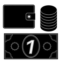 financial icons wallet coins money black vector image