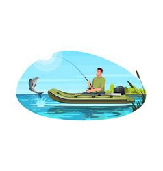 Fisherman catch fish semi flat vector