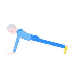 flat elderly man in sportsuit pushups vector image