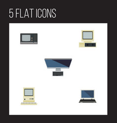flat icon computer set of computer pc vintage vector image
