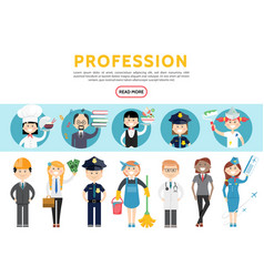 Flat professions set vector