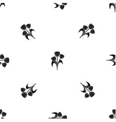 Flowers pattern seamless black vector