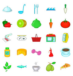 Food for training icons set cartoon style vector