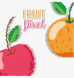 Fruit pixel cartoons vector