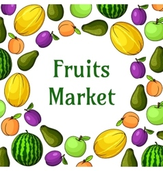 Fruits market decoration element with fruit icons vector image