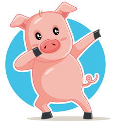 funny dabbing pig cartoon vector image