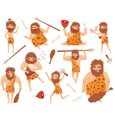 Funny stone age prehistoric man in different vector