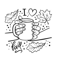 Girl holding mug coffee in her hands vector