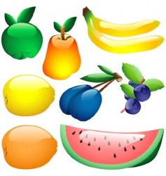 glass fruits vector image vector image